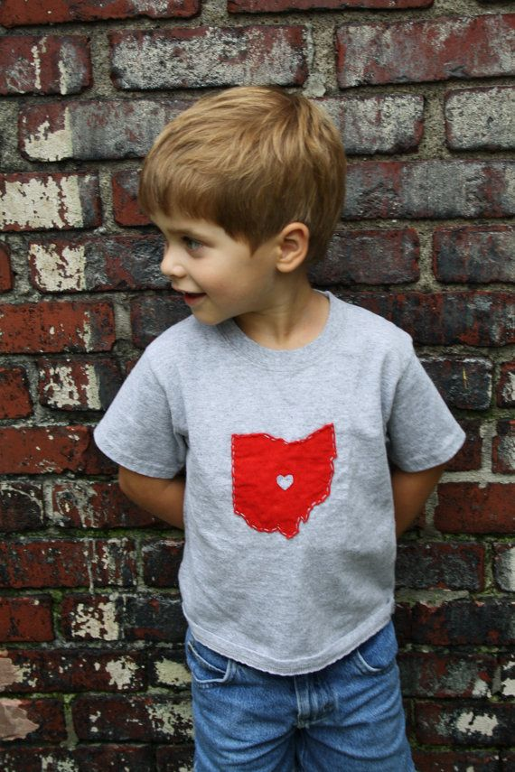 Ohio LOVE GREY State of Ohio Bodysuit with heart great baby