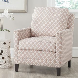 Buckler Peach Pink/ White Polyester Fabric Club Chair, $376.19