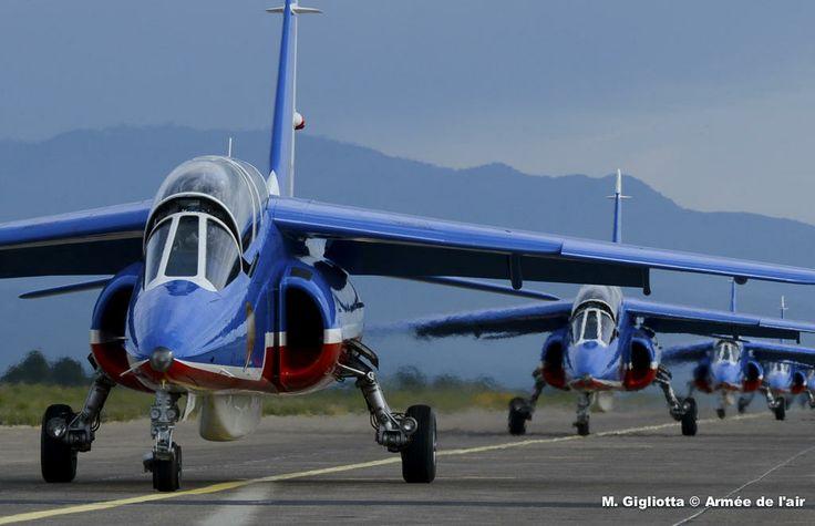 French Armée de l'Air Dassault Dornier Alphajet trainers, of national display team, Patrouille de France, on runway of base aérienne 126 at Ventiseri-Solenzara, Corsica, during training.
