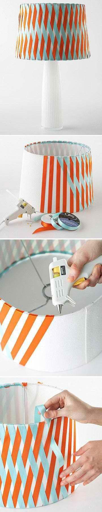 DIY Woven Ribbon Lamp Shade  #HomeandGarden