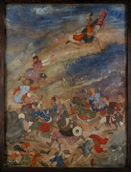 Style: Mughal; Type: Manuscript Illustrations; Title: 'Khwaja Umar saved from pursuers', north India, 1565-1570