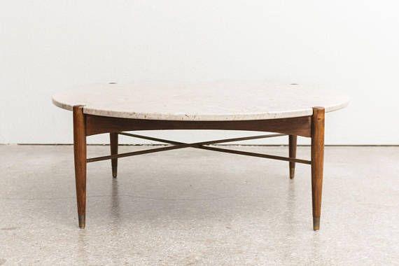 Mid Century Travertine Dux Coffee Table