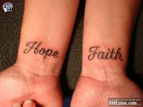 Hope and Faith Wrist Tattoos