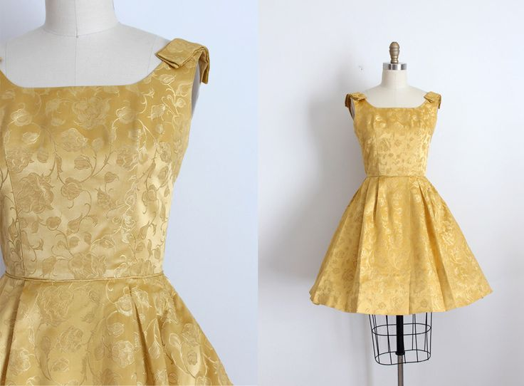vintage 1960s gold dress // 60s gold brocade party dress by TrunkofDresses on Etsy https://www.etsy.com/listing/261126018/vintage-1960s-gold-dress-60s-gold
