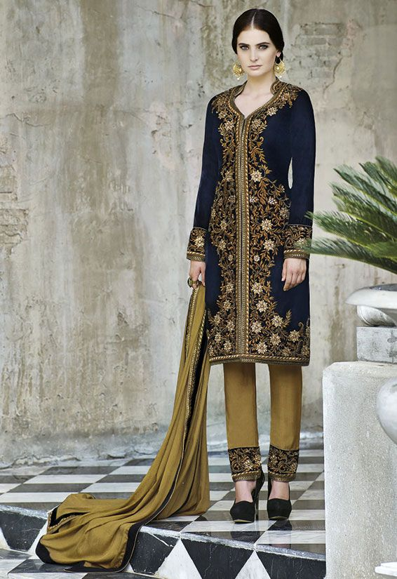 Enchanting Black and Mustard Suit