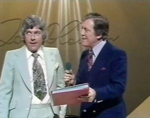 """Tom O'Connor being surprised by Eamonn Andrews for """"This Is Your Life""""in 1977."""