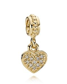 PANDORA Dangle Charm - Diamond \u0026amp; 14K Gold Pav  Brilliant Heart, .06 ct