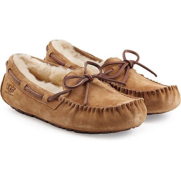 UGG Australia Dakota Suede Slippers ($115) ❤ liked on Polyvore featuring shoes, slippers, flats, pajamas and brown