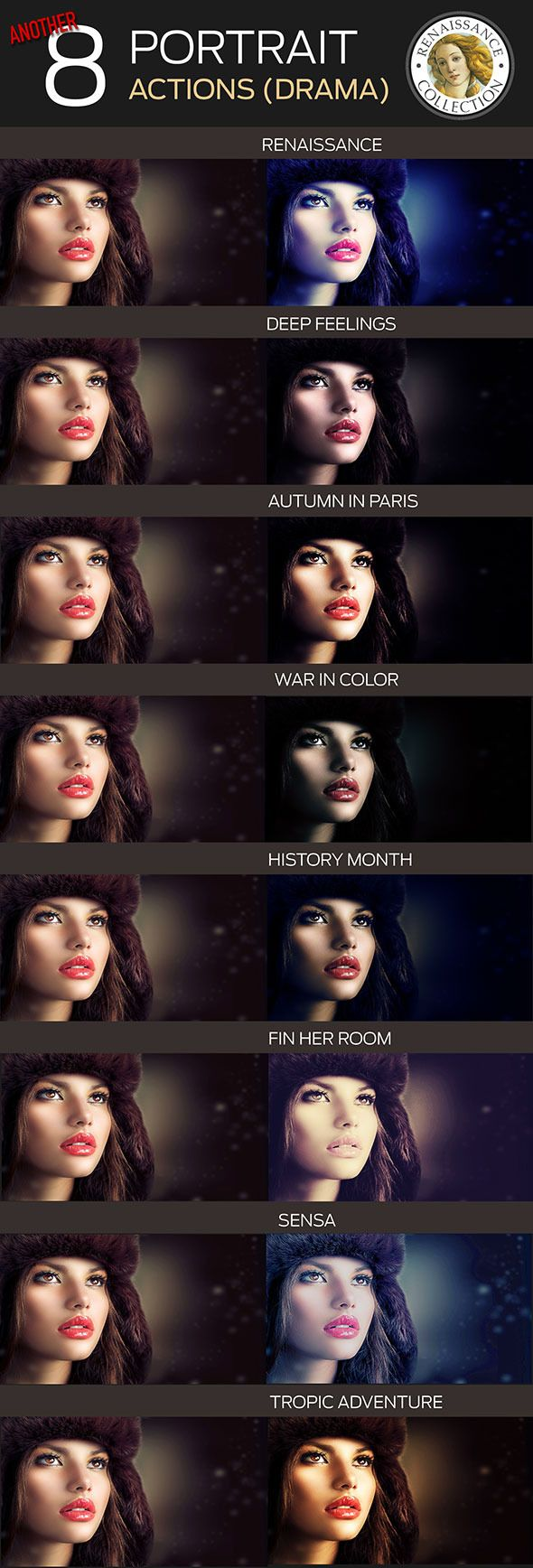 8 Renaissance Portrait Actions for Photoshop - par - Photo Effects Actions