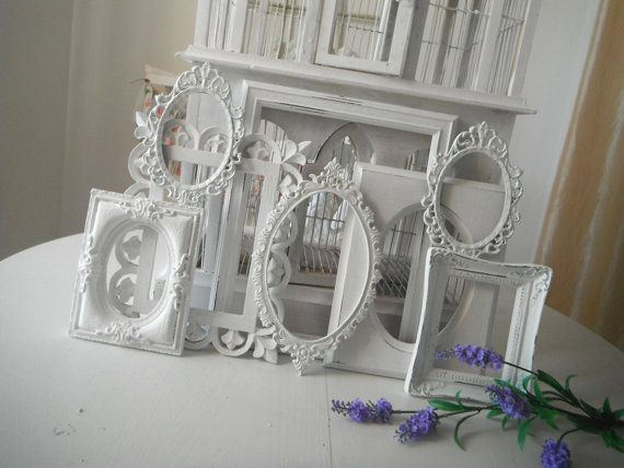 shabby chic picture frames 8 open photo frames white country cottage charm nursery decor french country OOAK rustic home