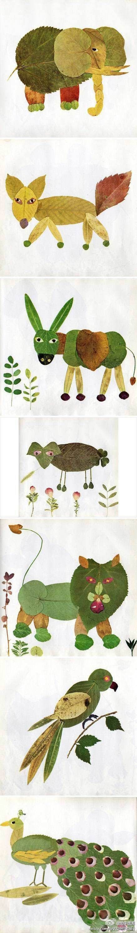 Animals made out of leaves - love this