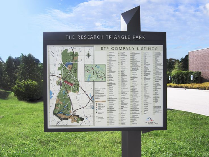 Wayfinding map sign at Research Triangle Park, NC
