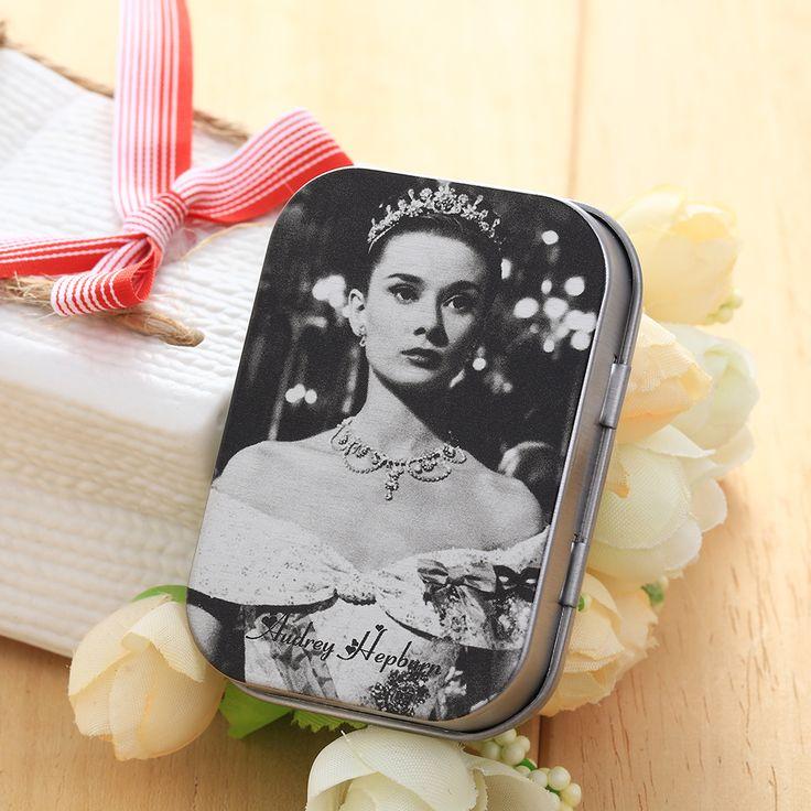 Novo bonito do Vintage Audrey Hepburn ferro lugar brinco picareta anéis mulheres de armazenamento jóias pequeno caixas de Metal caso Hot em Ciaxas de armazenamento & lixo de Home & Garden no AliExpress.com   Alibaba Group