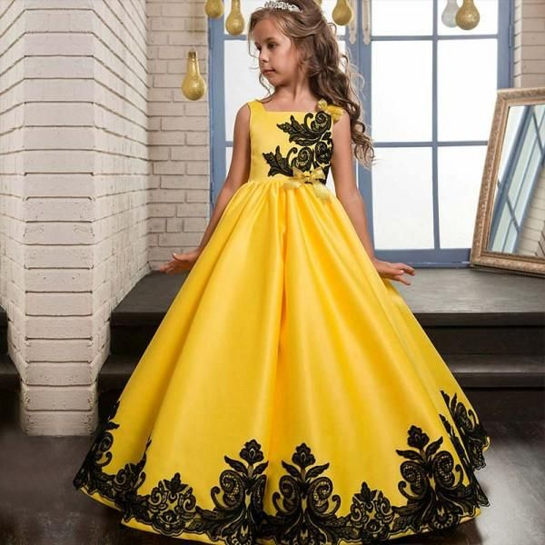 * Sleeveless design<br /> * Full skirt<br /> * Sequin embroidery<br /> * Back bowknot<br /> * Back hidden zip-up closure<br /> * Material: 90% Polyester, 10% Lace<br /> * Machine wash, tumble dry<br /> * Imported<br /> <br /> A vision of delicate tulle and satin, this lovely dress will make every little girl look like she has stepped from the pages of a fairy tale.
