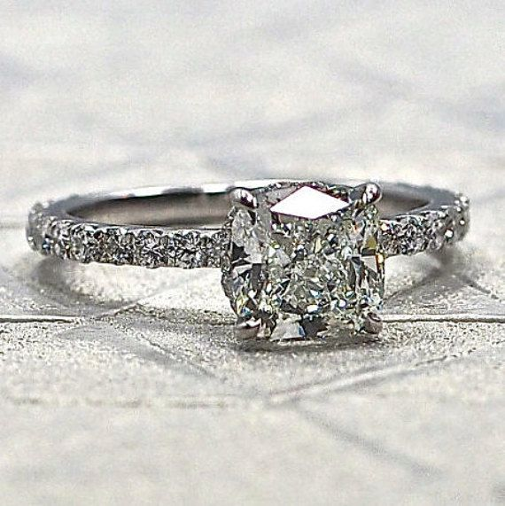 Cushion Cut Solitaire Setting with Diamonds on by DesignsByKamni  In rose gold of course 18k