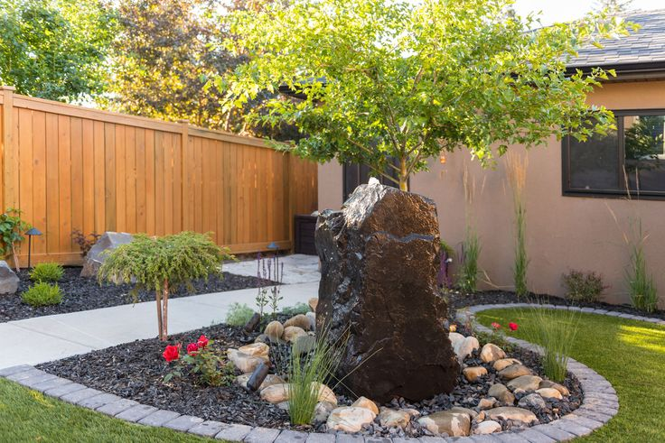 Looking for a water feature that will complement a small backyard? A vertical base with a small footprint keeps everything in proportion.