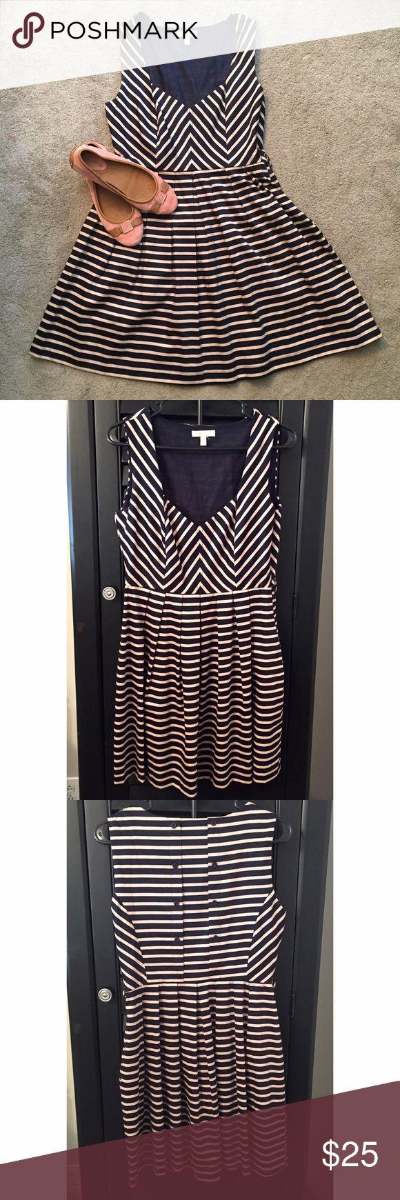 NWOT Monteau Striped Cocktail Dress NWOT Monteau Striped Dress • Navy and Cream Stripe • Sweetheart neckline • Full skirt • Size M • New, Never Worn Monteau Dresses Mini