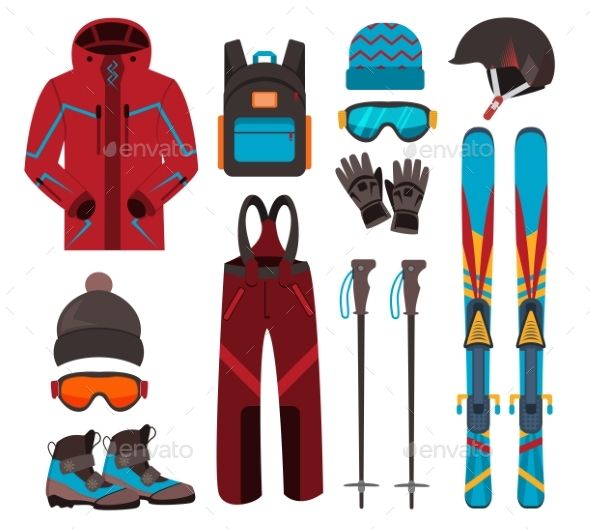 Skiing Equipment Vector Icons.