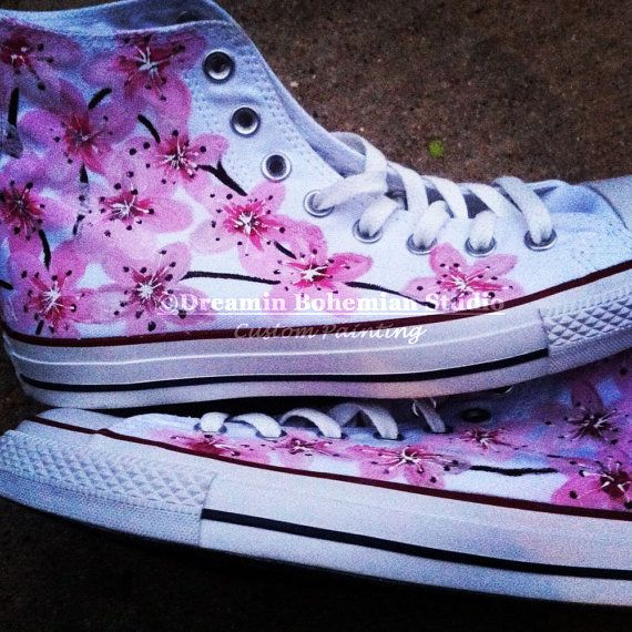 Cherry Blossoms Painted Hi Top Converse Shoe Custom Sneakers Painted Delicate Japanese Tattoo Flower Art for Bridal Party Wife Birthday Gift