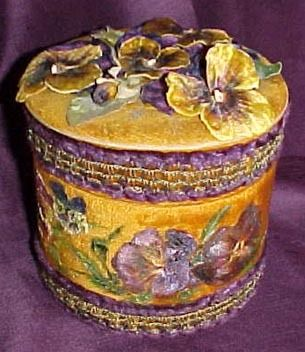 Fabric Covered Jewelry Box   Victorian Collar box covered with vintage fabric and trim