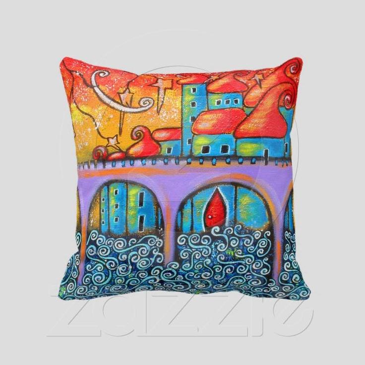 "Dreams At Sunset Original Art City Pillow  20"" x 20"", Image On Both Sides. $59.99, via Etsy."