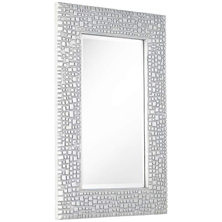"""Textured Relief 36"""" High Silver Wall Mirror - #T9616   Lamps Plus"""