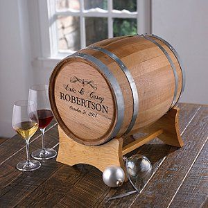 Personalized Wine Barrel Card Holder