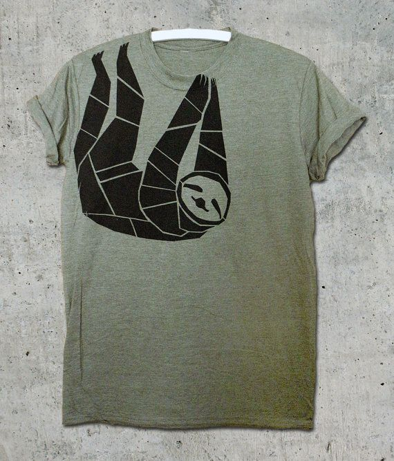 Sloth Shirt unisex black on heather green fair & by jutedude