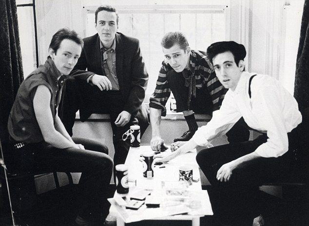 Star: Mr Jones, right with bandmates Topper Headon, Joe Strummer and Paul Simonon, with the guitarist in The Clash