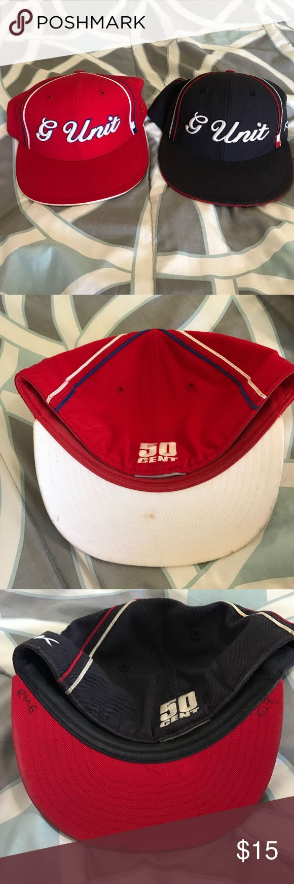 G unit hats 2 50 cent G unit hats.both good condition, blue one a little more worn that the red one. Red is sz 7 5/8 and blue is sz 7 1/2. Please see pics! Reebok Accessories Hats
