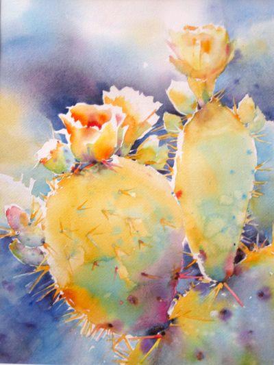 Prickly Highlights by Yvonne Joyner Watercolor ~ x