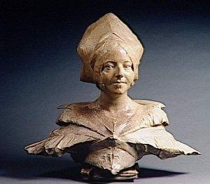 Bust of  Louise Labé by Jean  Joseph Carriès,