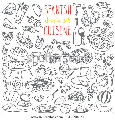 Set Of Doodles, Hand Drawn Rough Simple Spanish Cuisine Food Sketches. Different Kinds Of Main Dishes, Desserts, Beverages. Vector Set Isolated On White Background For Cafe Menu, Fliers, Chalkboard - 249598720 : Shutterstock