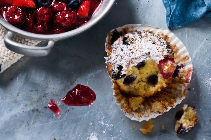 Keep good things coming out of the kitchen with these lovely marzipan berry muffins.
