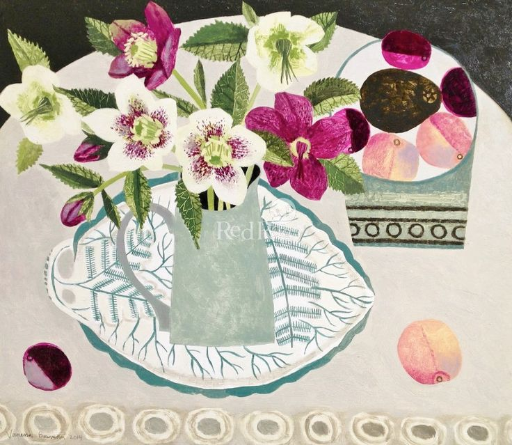 Hellebores and Peaches by Modern Contemporary Artist Vanessa BOWMAN