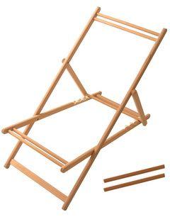 Châssis de chaise longue sans toile, de très grande qualité, acceptant une toile à transat amovible, qui se place sur le châssis très simplement grâce à 2 tasseaux.