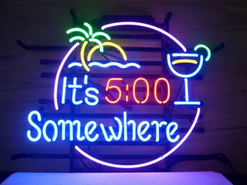 NEW ITS 5:00 SOMEWHERE MARGARITAVILLE BUFFETT REAL NEON BEER BAR PUB LIGHT SIGN | eBay