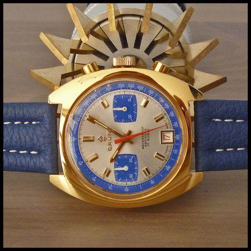 NOS 1960's CAUNY Swiss Vintage Racing Sport Chronograph 17j HW Valjoux Cal. 7734 | eBay