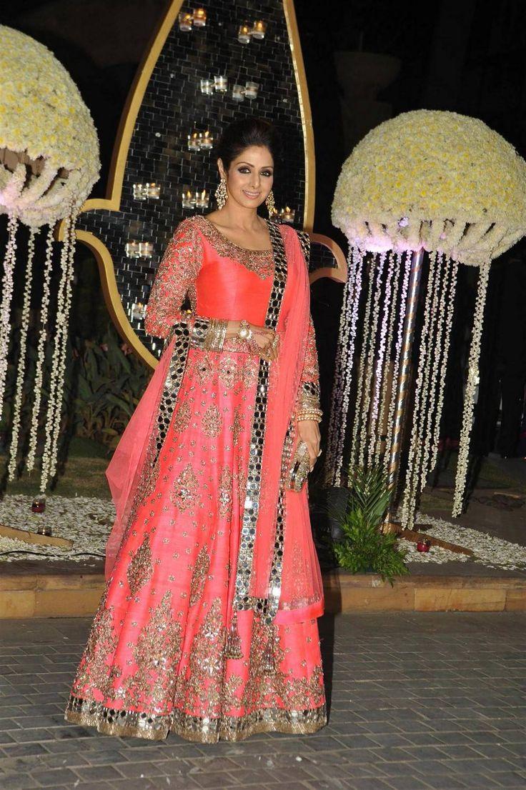 Red heavy bridal anarkali frock 7 suitanarkali in - Sridevi Kapoor At Tejas Talwalkar S Reception Dec Love Her Mirror Work Anarkali