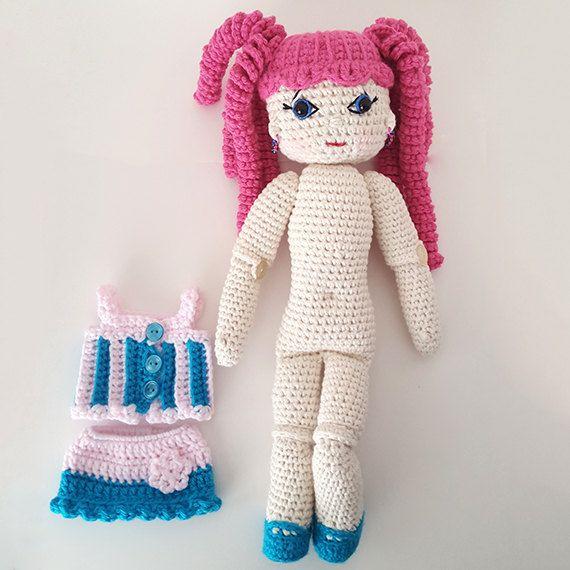 Crochet doll Skye. Amigurumi crochet doll. Camisole by LilCuddles