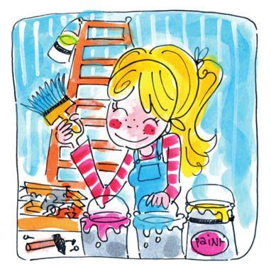 Een klussend en schilderend meisje- Greetz