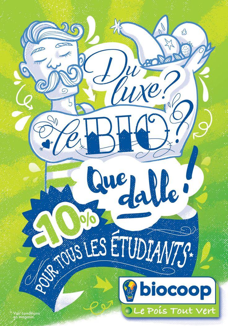 [ Moustache ! ] Et voici un aperçu de ma nouvelle campagne pour la Biocoop Le Pois Tout Vert ! Autant vous dire que je me suis encore bien amusée dans la création complète de ce visuel 😁 Outre la communication réseau, avec l'ouverture de la page FB officielle du Pois pour l'occasion (!), on retrouvera les déclinaisons entre Poitiers et Châtellerault sur petits supports sympathiques. Hâte de voir ça ! Merci au Pois pour sa confiance renouvelée, c'est toujours un plaisir <3…