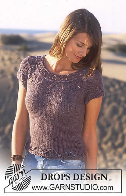 Ravelry: 95-9 Short sleeved top in in Safran and Alpaca pattern by DROPS design