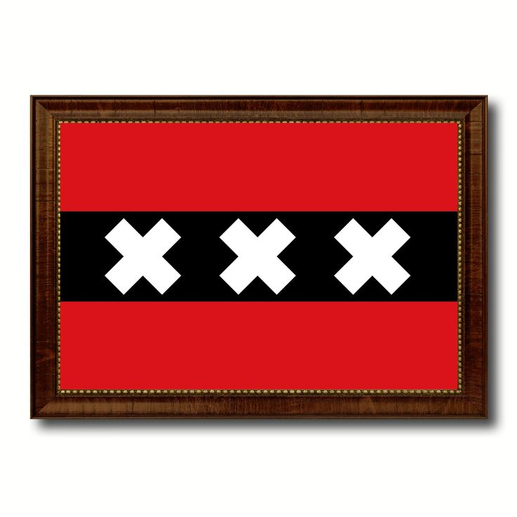 Amsterdam City Netherlands Country Flag Canvas Print Brown Picture Frame