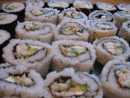 Sushi California Rolls made with crab, avocado, and cucumbers.