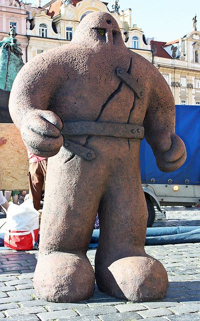 Golem statue in Prague: The legend reached the city of Prague not earlier than the year 1730 where the famous Maharal of Prague was said to have created a golem in order to protect the Jews of Prague from pogroms. When the golem began to get out of hand, the Maharal took the divine name from his forehead and restored the golem to his dust which is now supposed to reside in an attic in the Altneuschul.