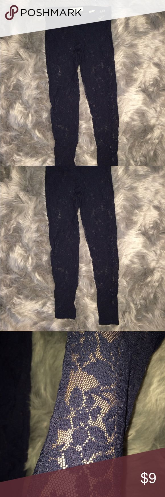 Lacy leggings navy blue Abercrombie and Fitch lace leggings. Free gift with every purchase, bundles are encouraged! Pants Leggings
