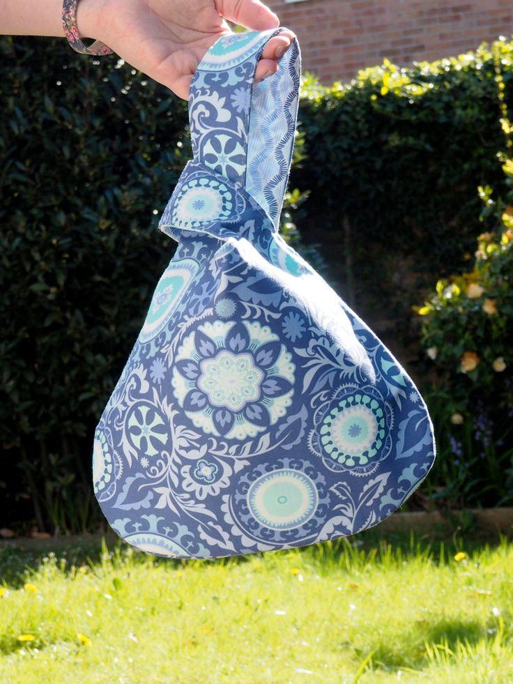 Japanese Knot Bag - evening bag, handbag, crochet project bag, knitting project bag. by HandbagsandHome on Etsy