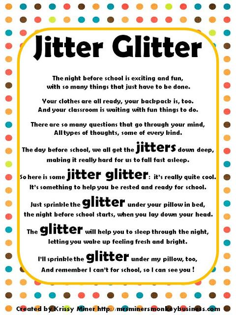 Jitter Glitter and poem:  Terrific idea for a meet the teacher night prior to the first day of school.