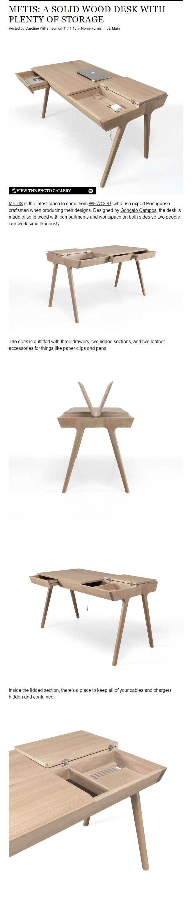 METIS: A SOLID WOOD DESK WITH PLENTY OF STORAGE - BY GONÇALO CAMPOS  http://www.goncalocampos.com/  http://www.wewood.eu/products/desks/metis